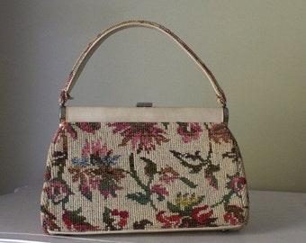 Vintage Floral Carpet Bag 1950s 1960s Carpet Bag Purse Larger Size