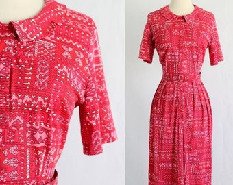 Vintage 1960s Dress 60s Dress Red Day Dress Womens Casual Dress 1960s Clothing Midi Length Printed Size Large