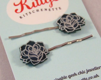 Rose Hairslides - choose your own colour