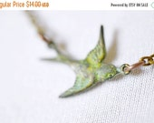 25% OFF SALE Tiny Bird Necklace / Sparrow Verdigris Charm with Teal Green Patina / Tiny Antiqued Bird Sideways Charm Necklace, Swallow Charm