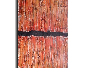 Large original painting  oil paintings abstract painting  industrial art gift  by jmjartstudio 18 x 36  orange textured artwork