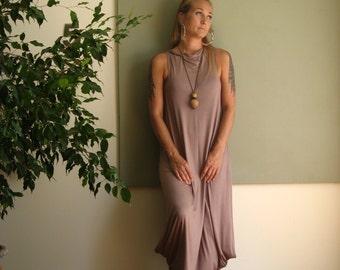 Midi Boho Summer Dress Long Loose A Line Dress Sleeveless Modern Minimalist Beach Wedding Cowl Neck Tank Dress  (More Colours) XS - XL