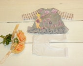 Grey and Pink Ruffled Dress and White Leggings - 14 - 15 inch doll clothes