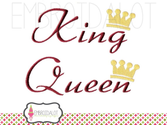 King And Queen Font By Weknow: King And Queen Machine Embroidery Design. Text By Embroidalot