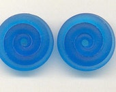 Tom's lampwork transparent satin (etched) pulsar blue 2 disc spacer/drop/clasps, 1 pair 96478