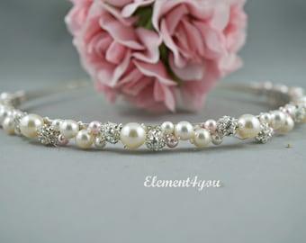 Swarovski Pearls rhinestone Balls Bridal Tiara Headband White Ivory Pink Beaded Silver Metal Hair Bridesmaid Wedding accessories Hair piece