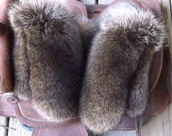 Raccoon fur mittens with red fleece liner handmade X X-large