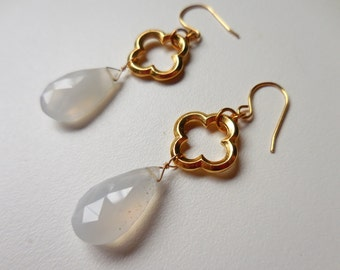 Blue Chalcedony Gemstone Teardrop Earrings with Gold Quatrefoil Links