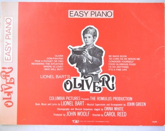 Piano Sheet Music Oliver! Movie Soundtrack, Easy Piano for Learners, Lionel Bart, Columbia Pictures, 1960