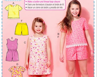 Learn to Sew a Girls' Dress Pattern, Girls' Top and Shorts Pattern, Girls' Romper Pattern,  McCall's Sewing Pattern 7377