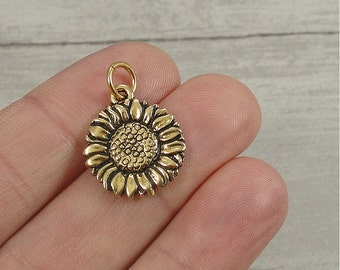 Sunflower Charm - Gold Plated Sunflower Charm for Necklace or Bracelet