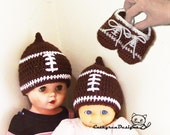 Baby Football Hat and Booties Set - INSTANT DOWNLOAD Crochet Pattern