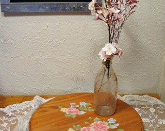 Wood Lazy Susan - Pink Floral Serving Tray - Cottage Chic - Round Serving Tray - Spinning Platter