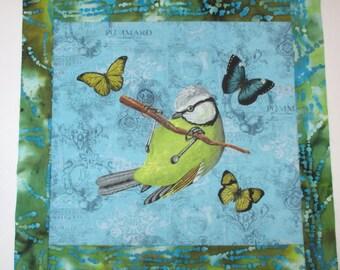 """Spring Bird Butterfly Fabric Quilt Block 16"""""""