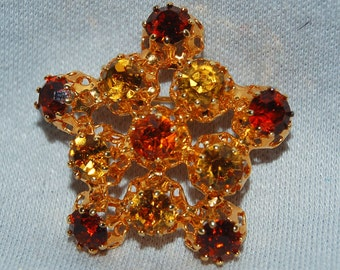Vintage / Austria / Rhinestone / Brooch / Amber / Gold / Old / Jewellery / Jewelry