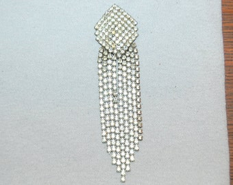 Vintage / Large / Dangle / Brooch / Shooting / Star / Rhinestone / Clear / Collectible / old jewelry jewellery