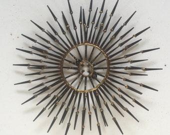 Mid century nail art wall sculpture sunburst