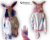 MADE TO ORDER Sylveon Nymphia pokemon inspired hoodie cute bows eeveelution