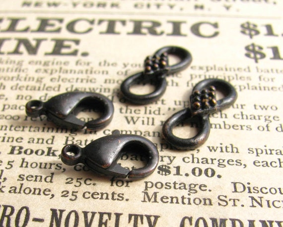 Rustic hook and eye set, 16mm infinity link, 12mm lobster clasp, antiqued black patina (2 sets) infinity link, parrot clasp set