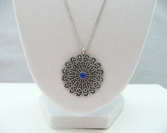 nnm-Filigree Medallion with Blue Center Necklace
