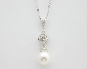 Pearl Pendant Necklace Bridal Necklace Swarovski Pearl Cubic Zirconia Wedding Necklace Bridesmaid Wedding Jewelry Pearl Drop Necklace, Rene