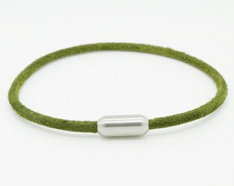 Mens simple olive green leather bracelet with stainless steel magnetic clasp