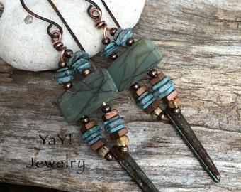 Scattered Earrings, Red Creek Jasper Earrings, Jasper Jewelry, Long Earrings, Tribal Earrings, Tribal Jewelry, Mykonos Jewelry, YaY Jewelry