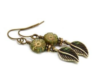 Olive Green Leaf Earrings - Picasso Glass Flower Beads - Rustic Jewelry - Boho Yoga Earrings