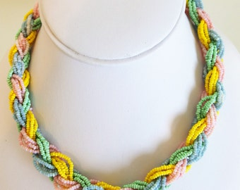Colorful Braided Glass Seed Bead Necklace