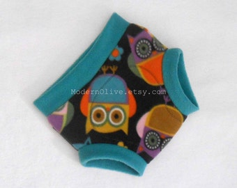 Extra Large Anti-Pill Owl Fleece Diaper or Underpants Cover Cloth Pullup/Soaker, Grey Gray Aqua Blue Purple, Multi Colored XL, Vegan Toddler