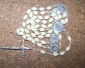 Vintage Catholic Rosary, Prayer Beads, White Rosary Beads, Beautiful Catholic Rosary with Case