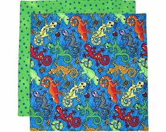 Cloth Napkin, Kids Napkin, Cloth Lunch Napkin, Lunchbox Napkin, School Napkin for Boys, Lizards, 1 double sided fabric napkin