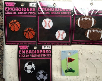 9 Sports Appliques Sewing Heat Set Baseball Golf Soccer Basketball Football