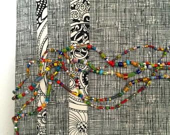 Beaded Fiber Art Wall Hanging - Proof of Life III