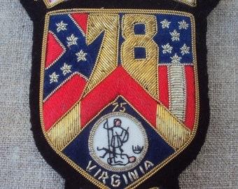 Vintage Hand Embroidered Gold Bullion Emblem Metallic Thread Patch Insignia Crest Virginia Vmi Honor Above Self