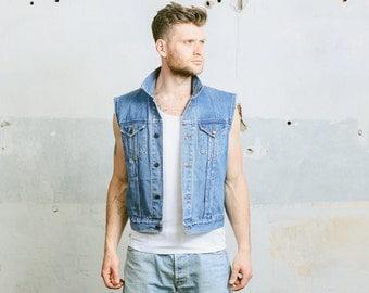 Vintage Jeans Vest . Mens 1990s Sleeveless Denim Jacket Blue Indie Hipster Grunge 1980s Waistcoat . Small Medium Large