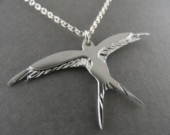 swallow necklace, silver swallow necklace, silver bird