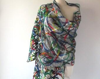 Nuno felted scarf, lace colorful shawl nuno felted stole Silk shawl  Grey rainbow  Women shawl silk scarf Summer scarf plus size shawl