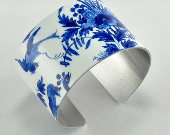 Made in the Americas Delft - Aluminum Cuff Bracelet - Boston Museum of Photography - Handmade - Unique Gift - Wearable Art!