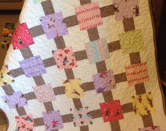 Sock Monkey Bright Pastel Girl Baby Quilt