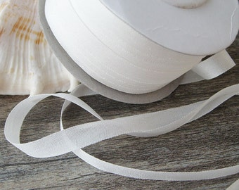 100% Pure Silk Embroidery Ribbon Tape Double Face Thin Taffeta 2mm-32mm (1/16''--1 1/4''), 202 Natural White