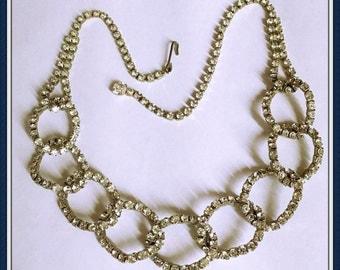 Vintage Formal Rhinestone Necklace, Interlocking Loops, Sparkling, Glitzy, adjustable, Choker, 1970's