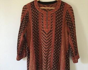 20% OFF SALE Rare Silk Bohemian Indian Tunic • Hand Stitched Indian Tunic • Vintage Tunic Top • Bohemian Top • Boho Tunic • Indian Hippie To