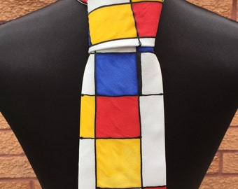 Mondrian Hand Painted New Pure Silk Tie by Julie Riisnaes