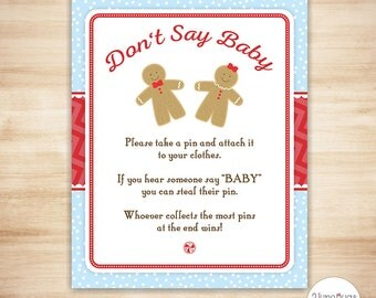 Gingerbread Dont Say Baby Game - Gingerbread Don't Say Baby Shower Game - Christmas Holiday Baby Shower Game - PRiNTABLE, INSTANT DOWNLOAD