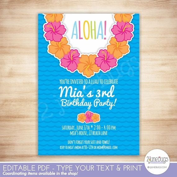 Luau party invitation luau birthday party invitation template il570xn stopboris Images