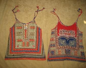 Girls Ethnic Pattern Top - Pair - S-XS Vintage