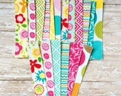 Fabric Tape Strips, Adhesive Fabric Tape, Planner Supplies, Pretty Tape - Summer Breeze - Set of 6 strips