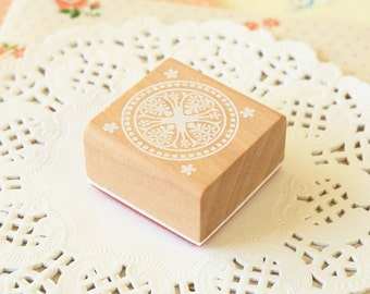 CS-02 WOOD Square STAMP lace doily pattern rubber stamp