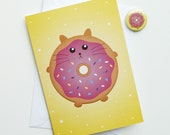 Cat Birthday Card, fat kitty cat doughnut donut yellow and pink birthday card with badge